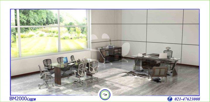 میز مدیریت مدرن شیشه ای