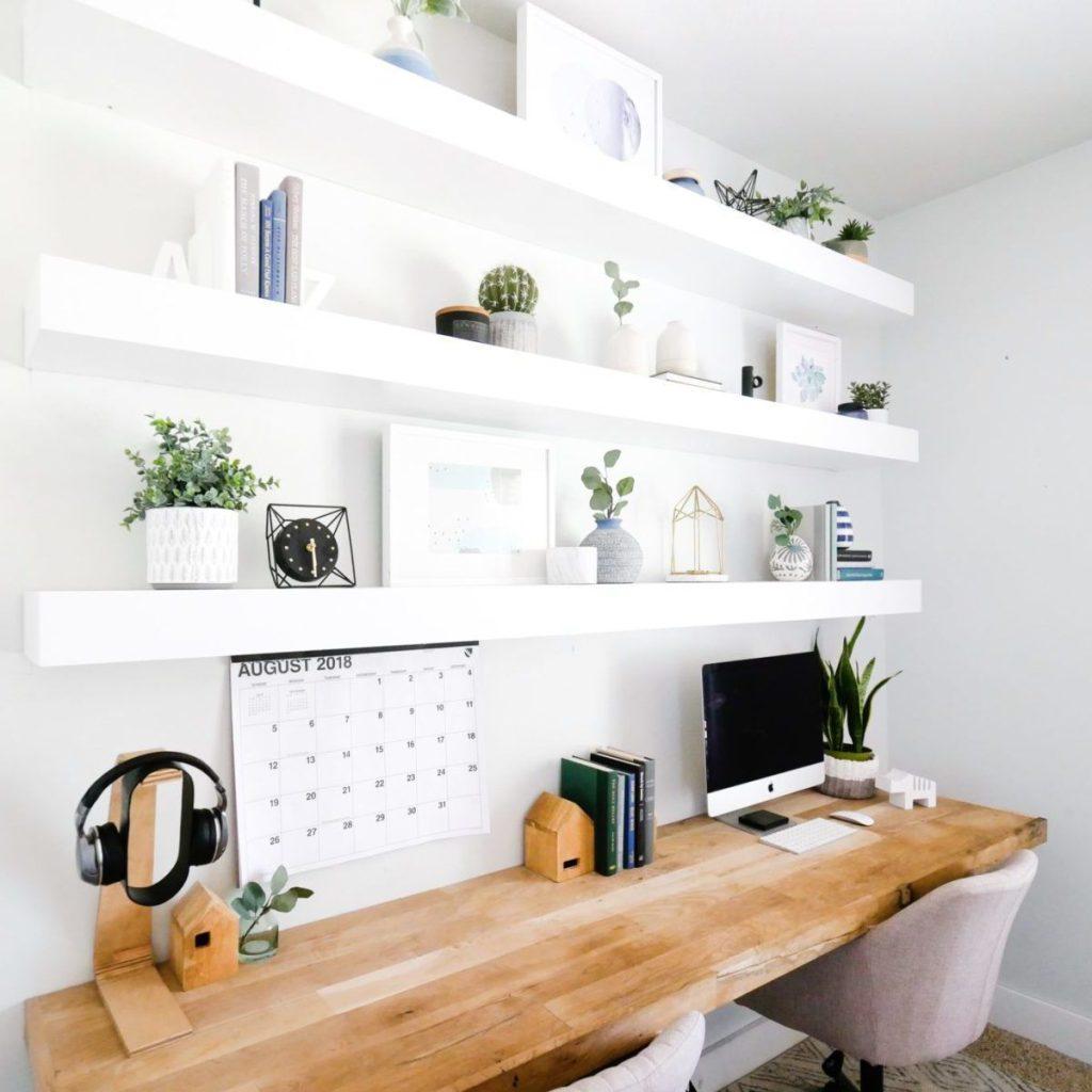 طراحی دیوار دفتر کار با کمد